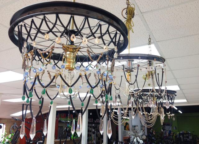 Bike wheel chandeliers by Jennifer Vermeersch