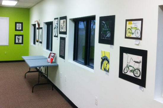 Hometown Bicycles Student Art Program in our community room