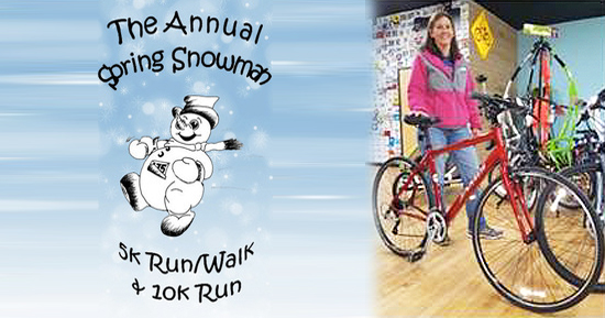 Register early for the Snowman 5K and be entered to win a Jamis Allegro from Hometown Bicycles
