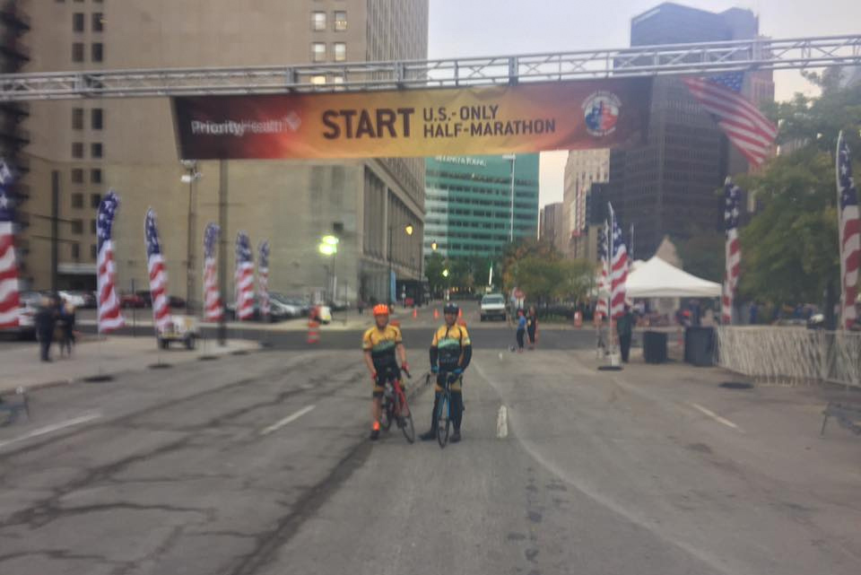 Team Hometown Bicycles leads off the Detroit Free Press Half-Marathon
