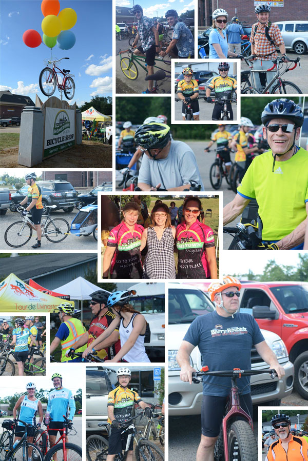 Cyclists and staff at the Tour de Livingston Party Ride with Shaun at Hometown Bicycles