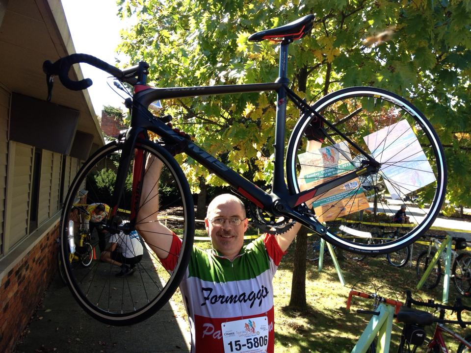 Tom H with the Jamis bike - donated by Hometown Bicycles - that he won at Tour de Livingston
