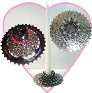 Bicycle cassette candle holders by Deborah Marlowe Kashdan