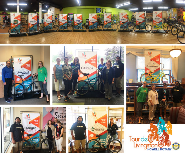 Hometown Bicycles' 10 donated bicycles for the Howell Rotary Tour de Livingston