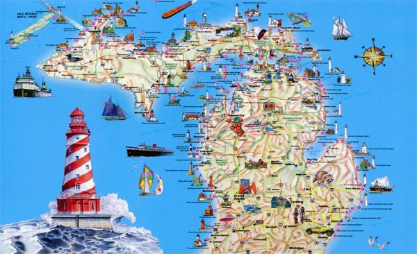 Michigan tourist map courtesy of Vidiani.com