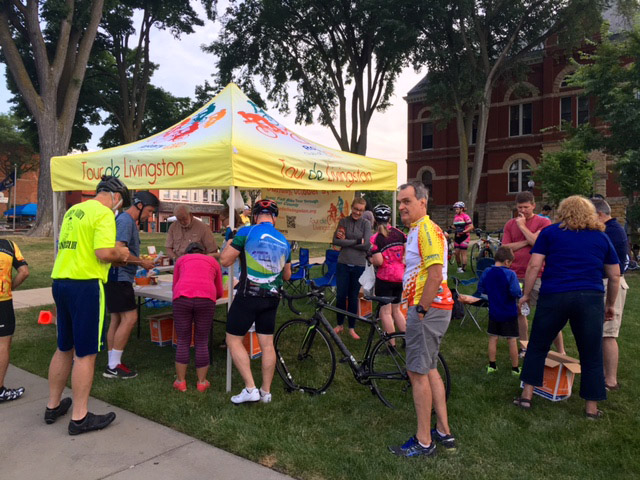 Tour de Livingston kick-off ride registration tent at the Livingston County Courthouse in Howell