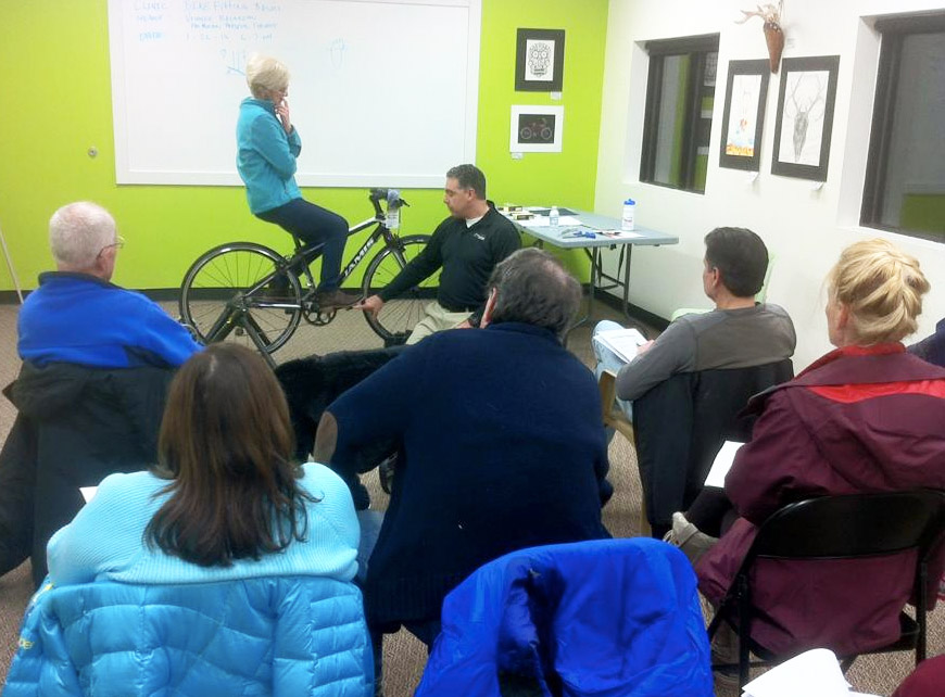 Bike Fitting Basics clinic at Hometown Bicycles with Vinnie from Pro-Motion Physical Therapy