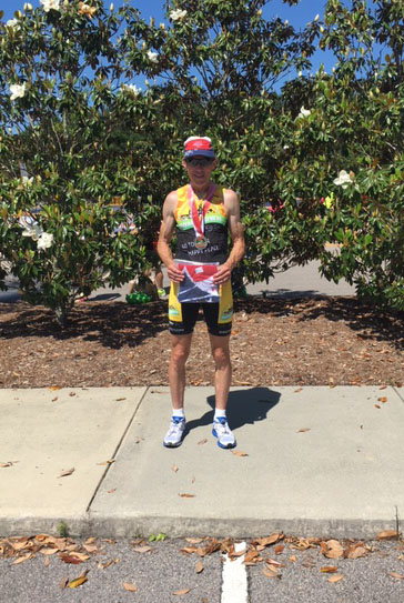 David Burkhart in Team Hometown Bicycles kit at the National Long Distance Duathlon Championship in Cary, NC