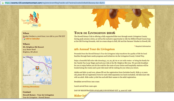 Tour de Livingston 2016 Registration web page