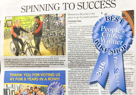 Hometown Bicycles wins Livingston County Daily People's Choice Winner Award 2016 for Best Bicycle Shop