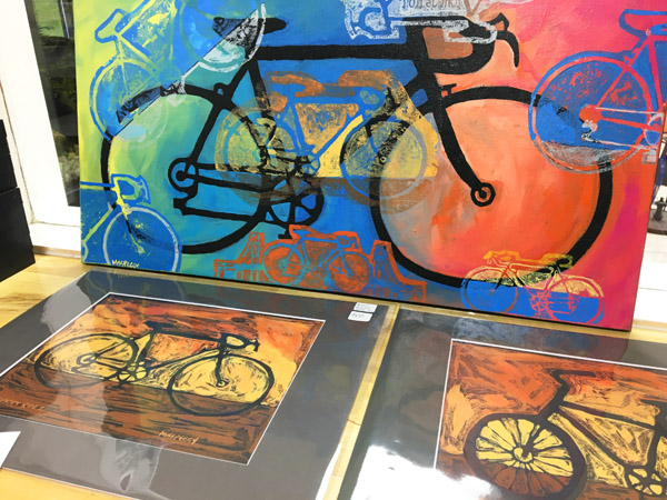 Peggy Kerwan's bicycle art at Hometown Bicycles