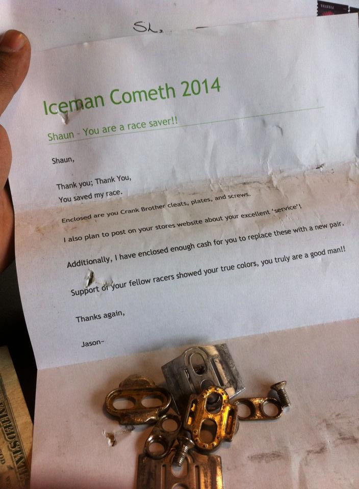 Iceman Cometh 2014 thank you note from Jason to Shaun Bhajan at Hometown Bicycles