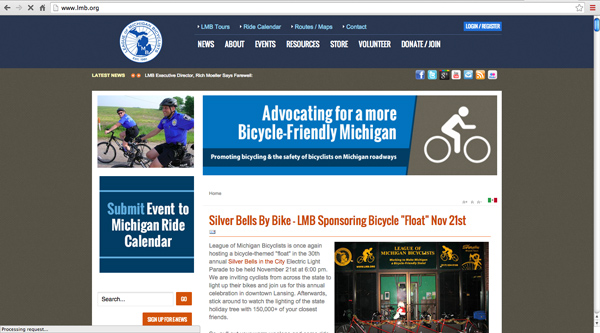 League of Michigan Bicyclists (LMB) website