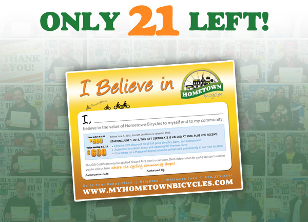 I Believe in Hometown Bicycles Gift Certificate