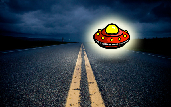 UFO on night road