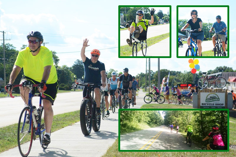 Tour de Livingston Party Ride with Shaun leaving from Hometown Bicycles and heading into Island Lake