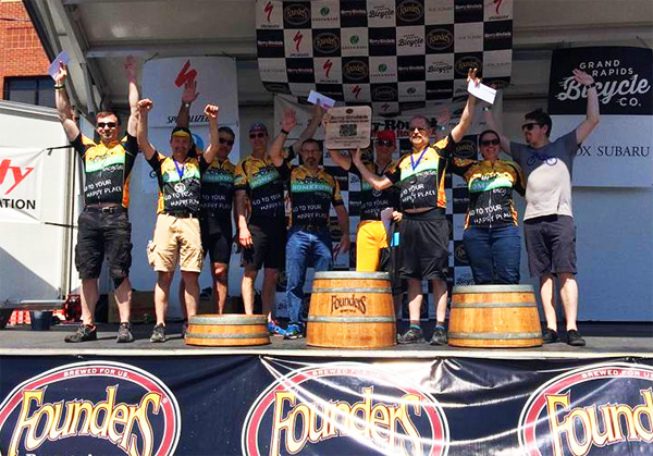 Team Hometown Bicycles on the Podium taking first place at Barry Roubaix 2016!
