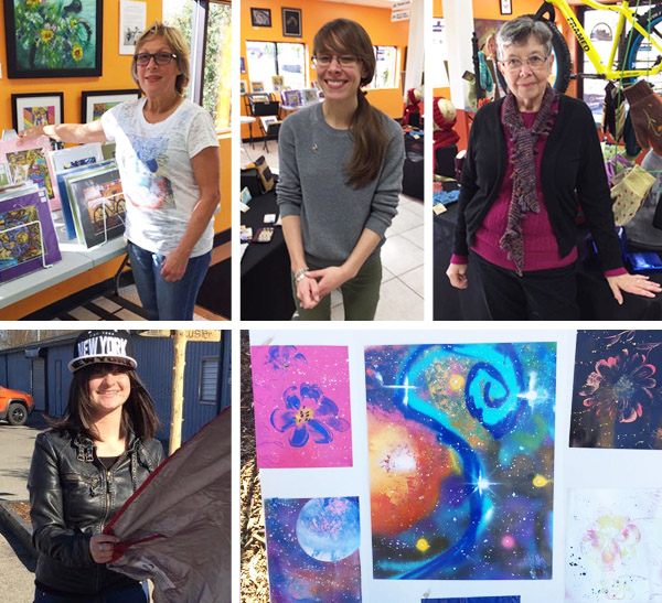 Artists Peggy Kerwan, Lauren Patrell of LPbyLP, Mickie of Nana's Knits, and Sarah Burke at Hometown Bicycles Fall Extravaganza