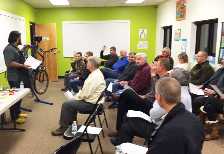 Shaun Bhajan teaching Emergency Bike Repair at Hometown Bicycles