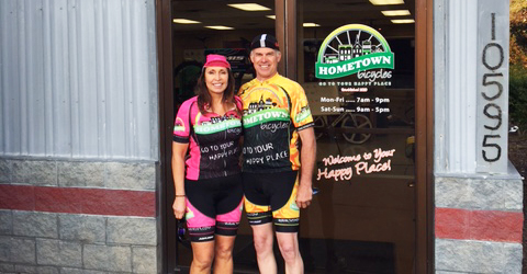 Joe and Carolyn at Hometown Bicycles in their Team Hometown Bicycles kits