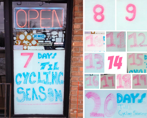Cycling seaon countdown at Hometown Bicycles