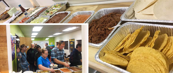 Taco bar at Hometown Bicycles 2017 Team night