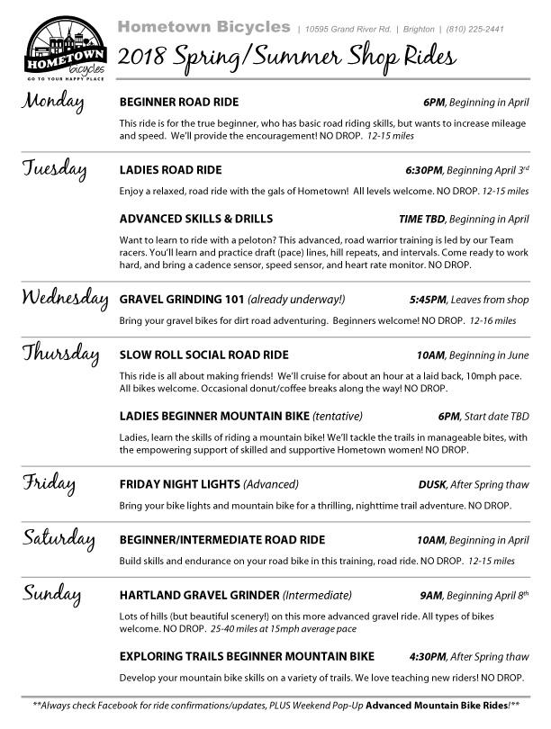 Hometown Bicycles 2018 Spring/Summer Shop Ride Schedule