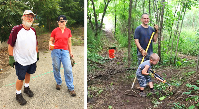 Volunteers for Hometown Bicycles trail clean up