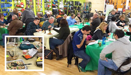 Hometownies enjoying good eats at our annual Where to Ride in Michigan Clinic and Potluck Party