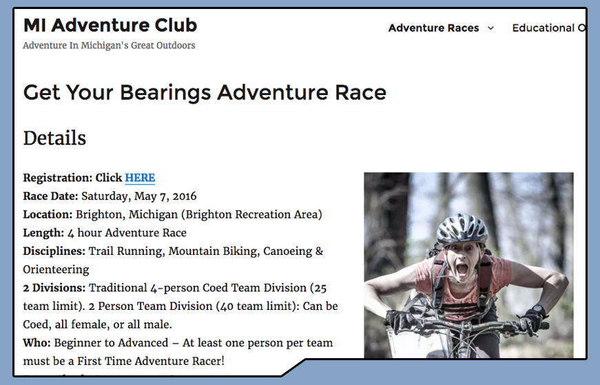 MI Adventure Club Get Your Bearings Adventure Race website