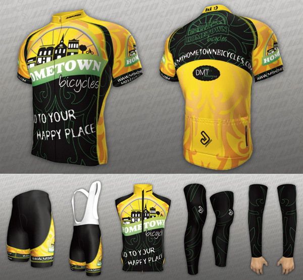 Hometown Bicycles team kit - jersey, cycling shorts, bibs, vest, arm warmers, and leg warmers