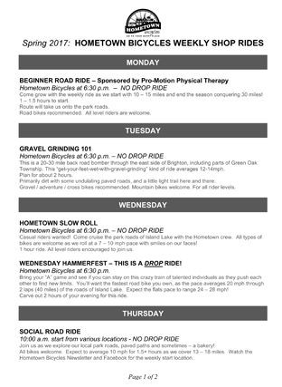 Hometown Bicycles Spring 2017 Weekly Shop Rides Schedule