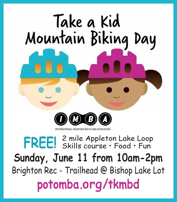 PotoMBA Take a Kid Mountain Biking Day event ad