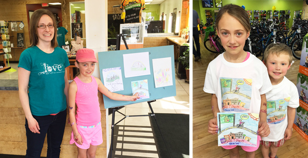 Winner of Hometown Bicycles' Jr. Hometownie T-Shirt Contest, Marley Simpson with Hometown COO, Dawn Bhajan