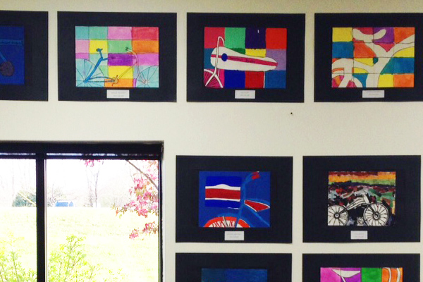 Student bicycle art at Hometown Bicycles from Bartlett Elementary 5th Grade, South Lyon