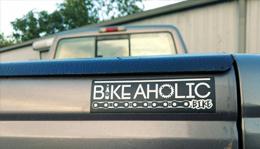 Bike-a-holic bumper sticker at Hometown Bicycles