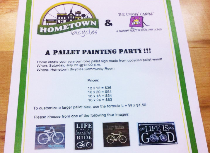 Comfy Canvas Pallet Painting Party at Hometown Bicycles - bicycle art
