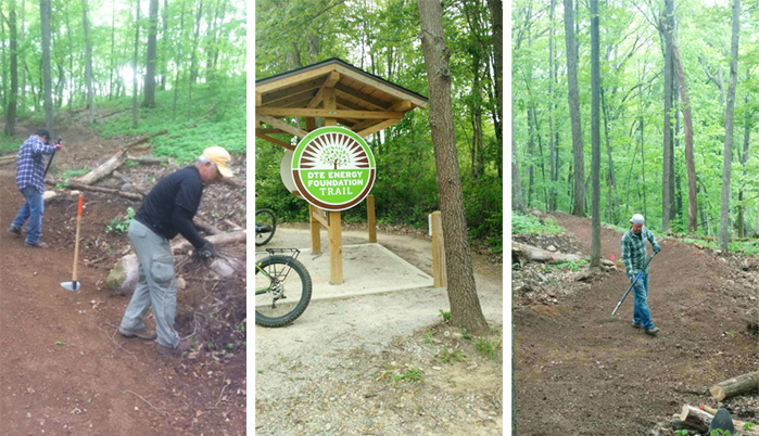Team Hometown Bicycles volunteer on the DTE Energy Foundation Trail Big Kame Loop