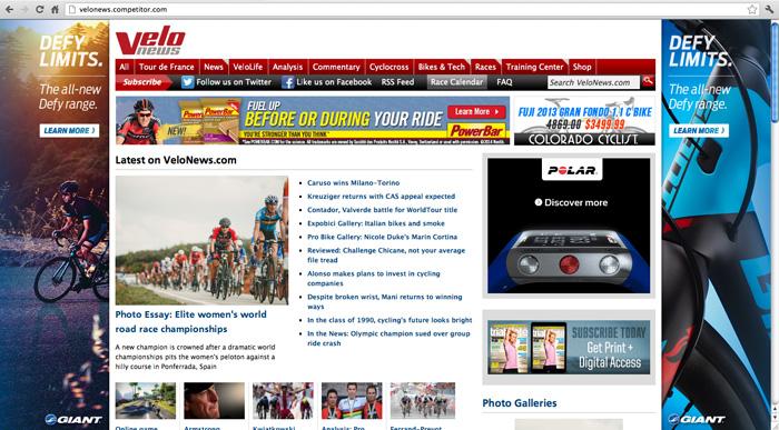 Velo News website