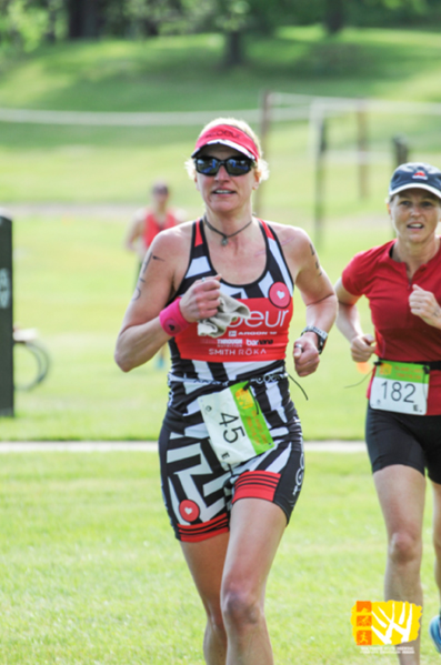 Amy Gluck at the Island Lake Triathlon