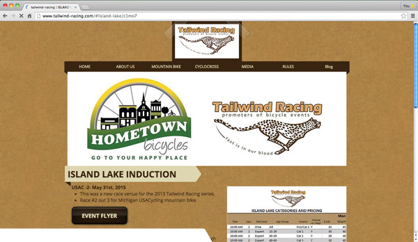 Tailwind Racing - Island Lake Induction web page