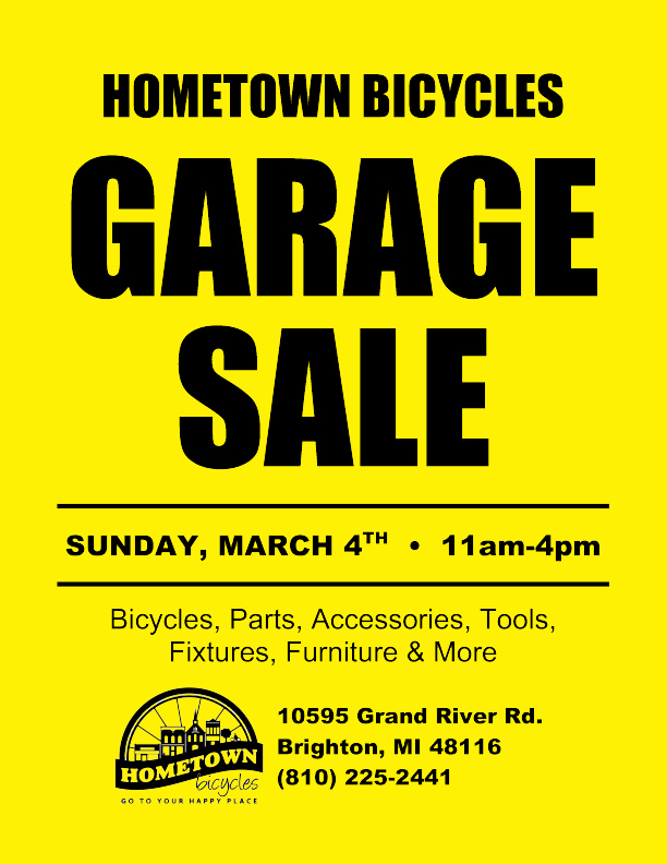 Hometown Bicycles Garage Sale this Sunday, March 4th from 11am-4pm