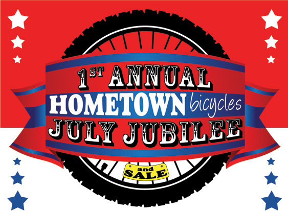 Hometown Bicycles 1st Annual July Jubilee and Sale logo