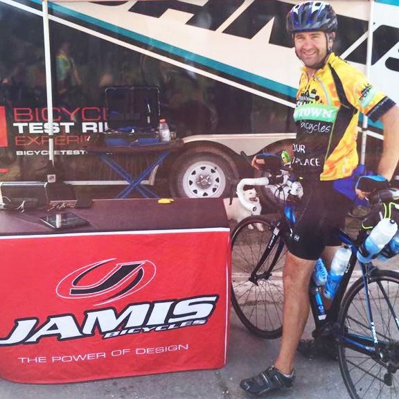 Team Hometown Bicycles' DJ Joe Ostervik at the RAGBRAI