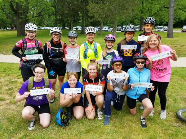 Hometown Bicycles' Jean Steinberg assisted with the Brighton High School Cycling Team's Girls Try It event at Brighton Recreation Area Appleton Loop