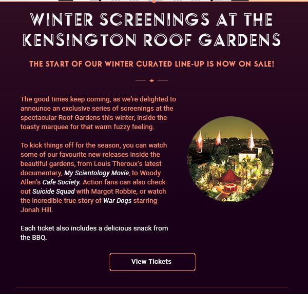 Winter Screenings at the Kensington Roof Gardens