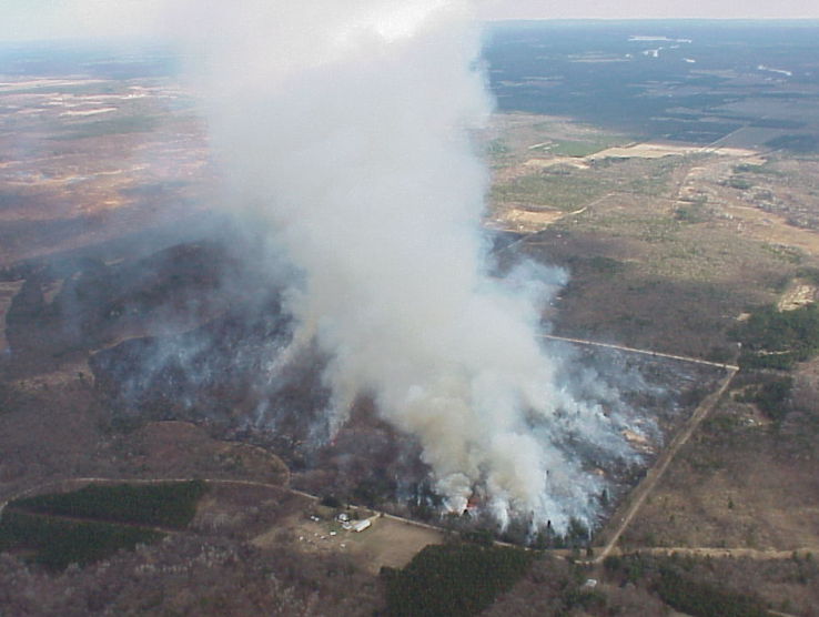 Aerial Photo of Rx Burn at Quincy Bluff by WI DNR