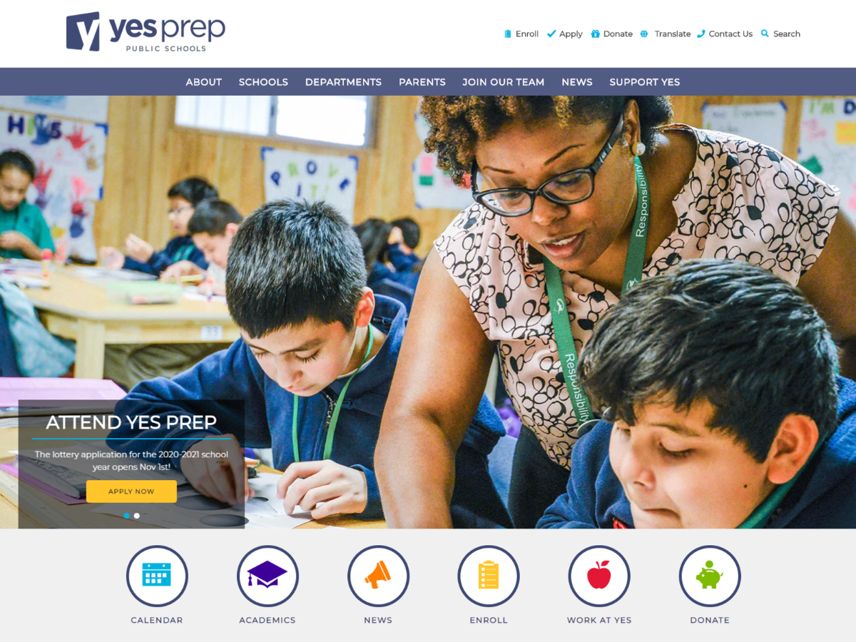New YES Prep website landing page