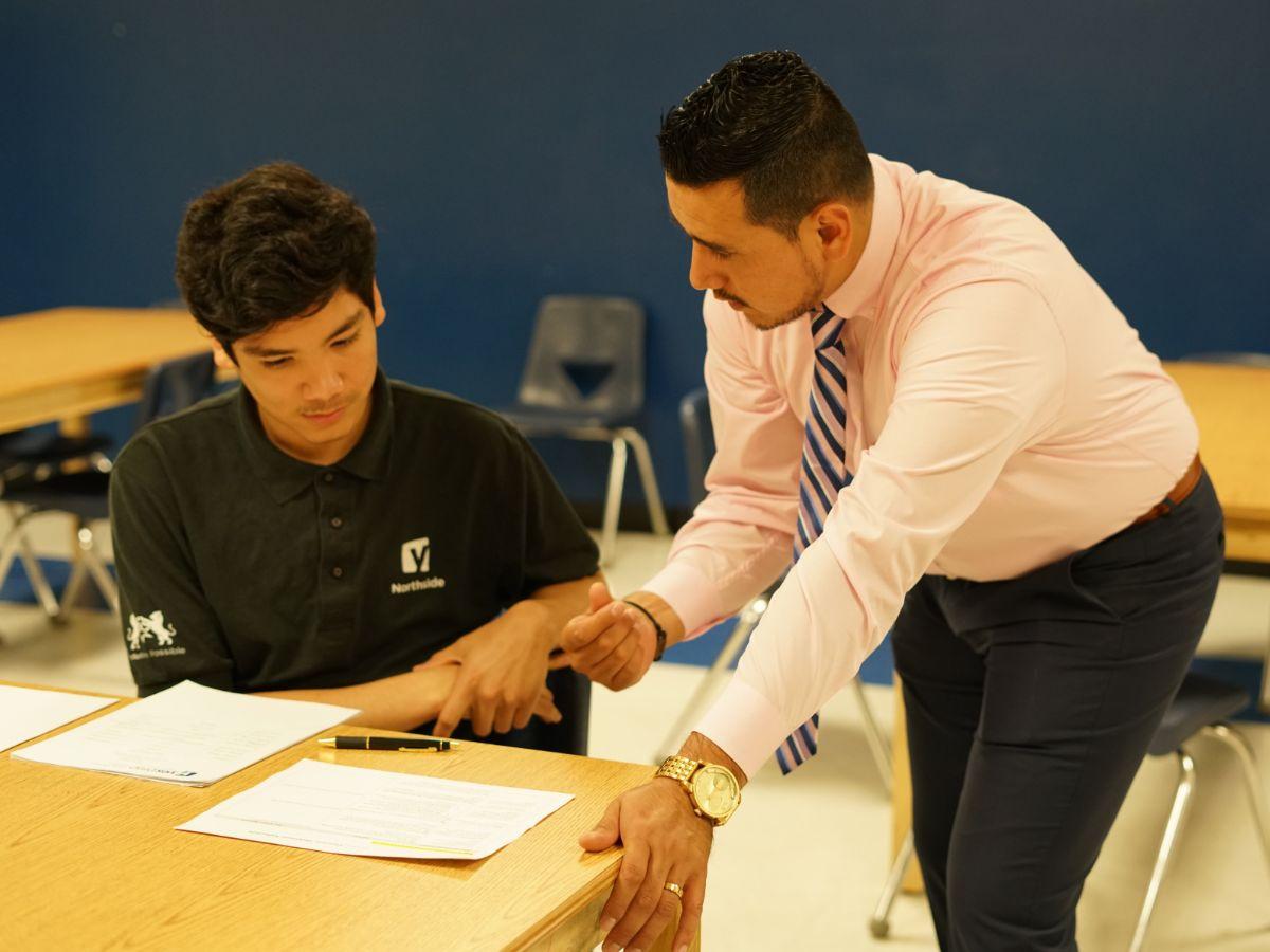 Student with university representative