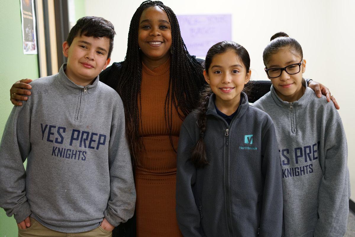Deborah Kossia with students